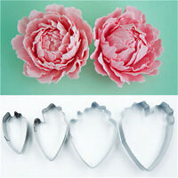 4pcs Peony Flower Cake Fondant Plunger Cutter Decorating Mold Sugarcraft Baking: