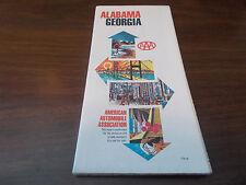 1970 AAA Alabama/Georgia Vintage Road Map