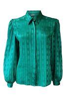 *HYPEN* Vintage Emerald Green Long Sleeved Self Stripe Women's Shirt (12)
