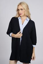 Blue navy Cashmere Duster Cardigan sweater women MADE IN ITALY