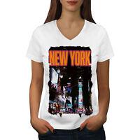 Wellcoda New York Night Life USA Womens V-Neck T-shirt, City Graphic Design Tee
