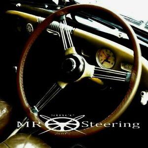 FITS MORRIS MINOR 1948-1971 LUXURY BROWN LEATHER STEERING WHEEL COVER