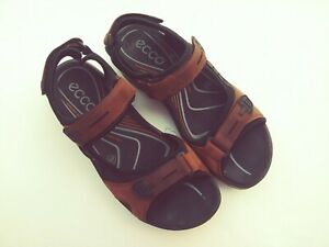 ECCO Yucatan Mens Size 45  Brown/ Black Leather Sport Sandals