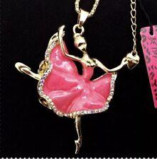 Dancer Ballerina Pink Crystals Enamel Betsey Johnson Necklace Ballet Pretty