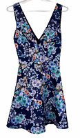 BNWT Dotti Womens Navy Floral Sleeveless Lined Fit Flare Dress Size 8 RRP$59.95