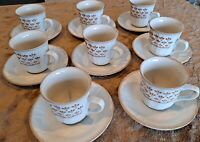 Sango Renaissance Fleur DeLis Brown Mugs/Saucers ~ Set of 8 ~ Made in Japan