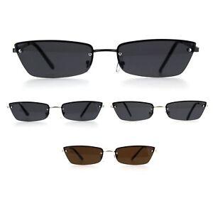 Womens Narrow Rectangular Rimless Cat Eye Metal Rim Retro Sunglasses
