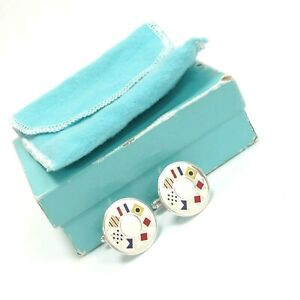 Authentic Tiffany & Co 925 Sterling Silver Nautical Flags Cufflinks Box & Pouch
