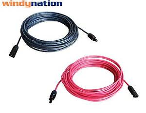 8 AWG 8 Gauge Pair Black + Red Solar Panel Cable Wire with Solar Connectors