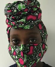 Pink and Green Head Wrap and Face Mask Combo