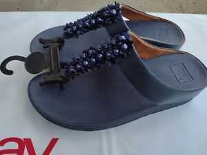 NEW FITFLOP NAVY WEDGE WALKING SANDALS WOBBLEBOARD FIT FLOP FLOWERS SIZE 8 9 11