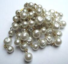 Ancienne broche or cascade de perles baroques sur chaînettes bijou vintage 5069