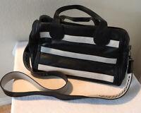 Steve Madden Large Handbag Black White Faux Leather Purse Wide Crossbody Strap