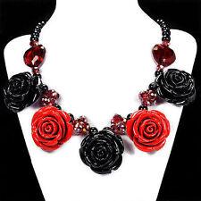 Rose, Black Rose & Fire Babero Collar Artesanal joyas del Reino Unido Regalo Idea