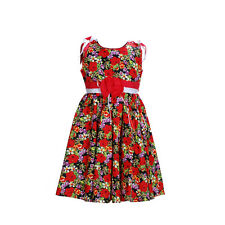 New Girls Red Floral Cotton Summer Party Dress 3-4 Years