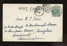 GB QV 1901 PPC UB CAMBRIDGE+BRIGHTON REDIRECT BIRMINGHM
