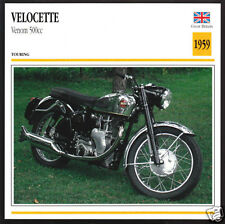1959 Velocette Venom 500cc (499cc) Motorcycle Photo Spec Sheet Info Stat Card