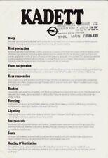 Opel Kadett D Specification 1979-80 UK Market Foldout Brochure L LS GL SR Estate