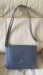 New Ashwood Dark Grey Leather Flapover Shoulder Bag Grey Small Size Rrp £69.99