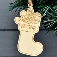 Christmas Decoration Personalised Bauble Wooden Stocking Xmas Tree Decorations