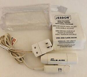 Jerdon Palm Aire Mini Travel Blow Dryer Folding Hair Dryer Dual Voltage W Case