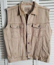 Synergy Jeans Mens SZ Large Vest Khaki Denim Jacket Sleeveless
