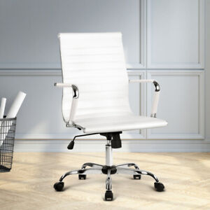 Artiss PU Leather Lift Office Chair Executive Computer Replica Desk Chairs White