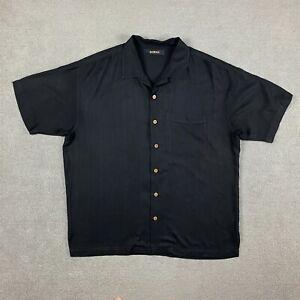 Bachrach Men's Short Sleeve Button Up Shirt XL 100% Silk Black X-Large