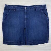 Lane Bryant Womens Plus Size 28 Denim Stretch Dark Wash Blue Jean Bermuda Shorts