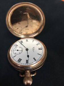 Waltham pocket watch Working. Traveller Model  With 9 Carat Gold Denison Case