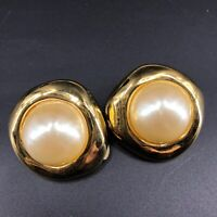 "Vintage Gold Tone Large Faux Pearl White Cabochon Clip On Earrings 1.5"" Diameter"