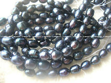 "5strands! freshwater pearl pure black egg 8-9mm 15"" wholesale nature bead hot"