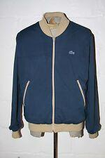 VTG IZOD Lacoste Navy Blue Full Zip Jacket with Acrylic Sweater Lining Sz L NICE