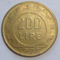 1978 ITALY 200 LIRE  NICE WORLD COIN