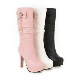 Gothic Womens Mid Calf Boots Chunky Heel Platform Punk Riding Bowknot Shoes