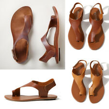 Women's Gladiator Sandals Summer Flat Heel Open Toe PU Leather Shoes Flip Flops