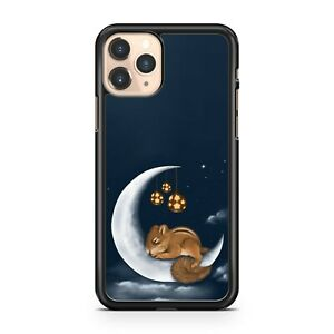 Adorable Squirrel Animal Sleeping On Crescent Moon Galaxy Space Phone Case Cover
