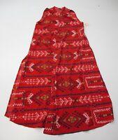new LULAROE Women's Size XS Open Front Red/Blue Tribal Geo Longline Duster Vest