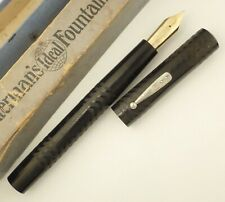 WATERMAN 20 FOUNTAIN PEN c1910s, WITH RARE BOX, JET BLACK, MOSTLY CRISP