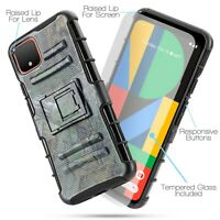 For Google PIXEL 4 XL Kickstand Belt Clip Holster Armor Cover + Screen Protector
