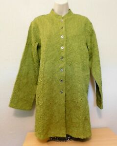 Chico's 1 Jacket M 8 Green Textured Fabric Long Sleeve Tunic Length Cotton Blend