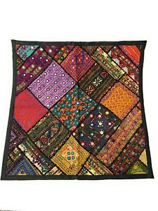 Handmade Multi Coloured Cushion Cover With Mirror Embroidery Work 66cm x 66cm