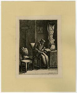 Antique Print-GENRE-SCHOLAR-STUDY-84-Deuchar-ca. 1780