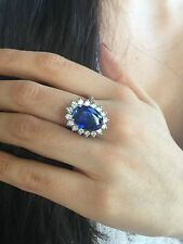 Signed 16.00 ct  Royal Blue Sapphire Diamond Platinum heavy Ring