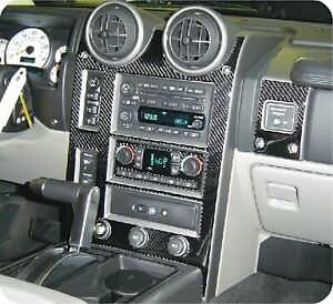 "2004-2007 Hummer H2 Real Carbon Fiber Dash Trim Kit "" High Gloss"""