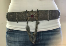 Heavy Antique Ornate Indian Panel Belt Solid Silver 31.57ozt