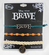 New Disney Brave Merida 3Pk Cord Charm Pendant Bracelet Wristband Set