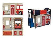 Boys Bed Fire Department Curtain Set 4 Loft Twin Bunk Tent Playroom Curtain Only