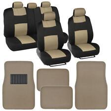 Soft Car Seat Covers w/ Front & Rear Floor Mats Heel Pad Design Black Beige
