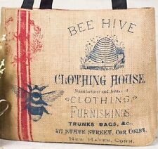 BACKROADS COLLECTION - Burlap & Canvas BEE HIVE CLOTHING HOUSE Tote Hand Bag